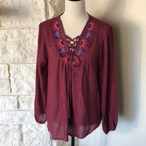 NWT Boho Embroidered Lace up Blouse Top